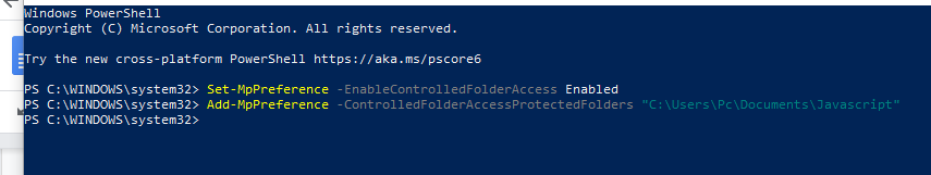 controlled folder access configuration with powershell